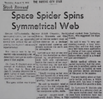 Space Spider Spins Symmetrical Web<br><strong>THE KANSAS CITY STAR</strong>