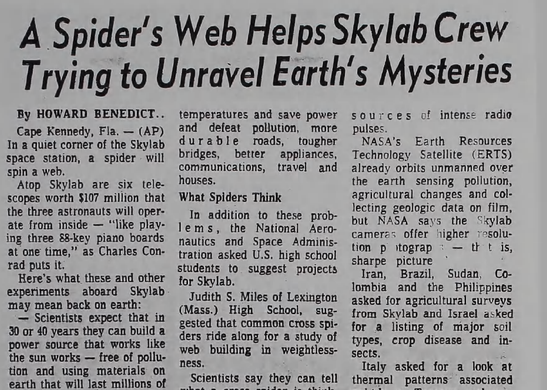 A Spider's Web Helps Skylab Crew Trying to Unravel Earth's Mysteries<br><strong>PHILIDELPHIA</strong>