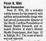 Dr. Peter N Witt Obituary<br><strong>Washington Post</strong>