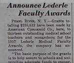 Announce Lederle, Faculty Awards