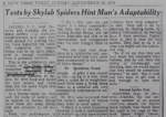 Tests by Skylab Spiders Hint Man's Adaptability<br><strong>The New York Times</strong>